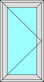 Створка 700x1500мм 6712р (поворотная, ручка справа)